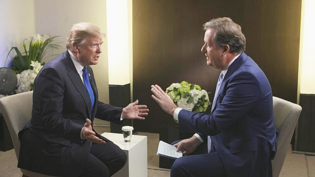 piers morgan interviewing us president donald trump photo courtesy daily mail file