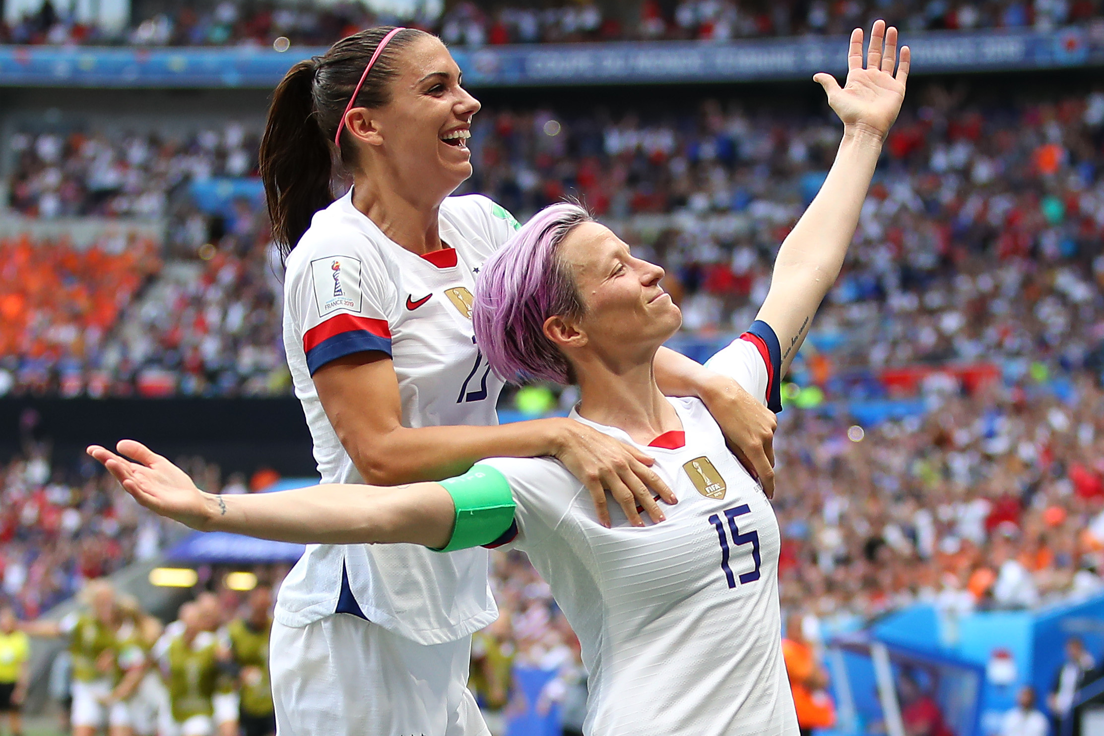 rapinoe and morgan voiced dismay at the outcome but pledged to fight on photo afp