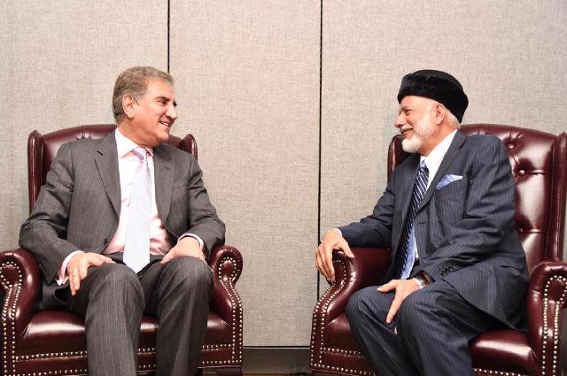 fm shah mahmood qureshi met his omani counterpart yousuf bin alawi bin abdullah on the sideline of un general assembly in new york photo pid file