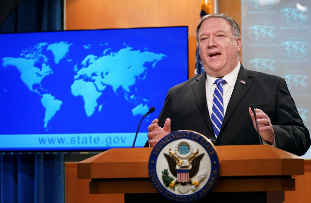 us secretary of state mike pompeo speaks about the coronavirus disease covid 19 during a media briefing at the state department in washington us may 6 2020 photo reuters