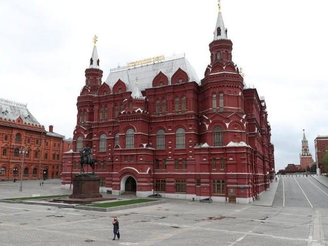 a general view shows the state historical museum and the kremlin wall as the outbreak of the coronavirus disease covid 19 continues in moscow russia photo reuters