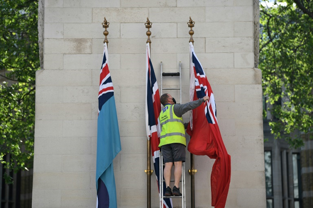 the flag of the royal air force union flag and the flag of merchant navy are raised on the cenotaph war memorial in whitehall london photo afp