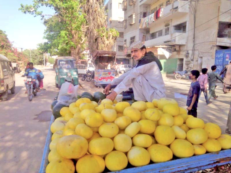 a hawker sits atop a pushcart laden with melons with no other source of income during the lockdown many have temporarily turned to selling fruits and vegetables in the streets photo express