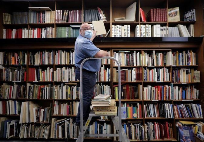 people are being careful not to touch the books too much and we tell them that if they touch the books says co founder anne laure vial photo reuters