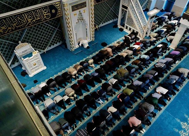 muslims offer taraweeh prayers at a mosque photo afp