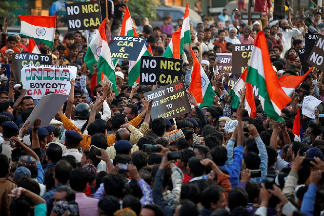 demonstrators shout slogans during a protest against a new citizenship law in ahmedabad india december 19 2019 photo reuters