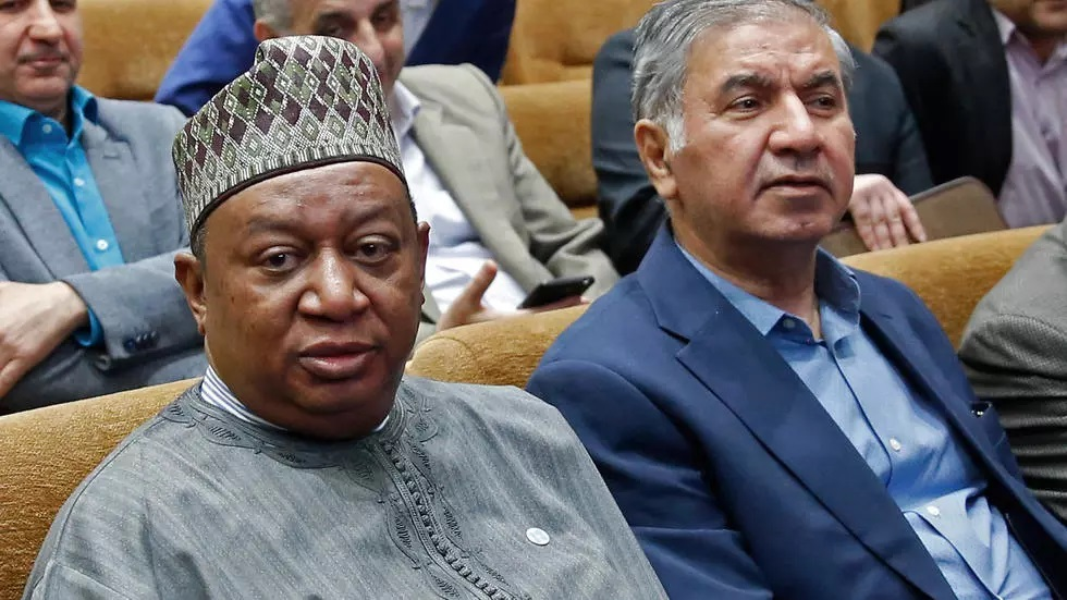 iran 039 s opec governor hossein kazempour ardebili right sits next to the oil cartel 039 s nigerian secretary general mohammed sanusi barkindo left at a conference in tehran in may last year photo afp