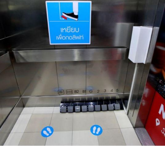 039 now that we can use our foot to press the elevator it s really great 039 photo reuters