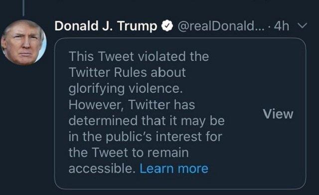 twitter hides trump s minneapolis tweet for glorifying violence