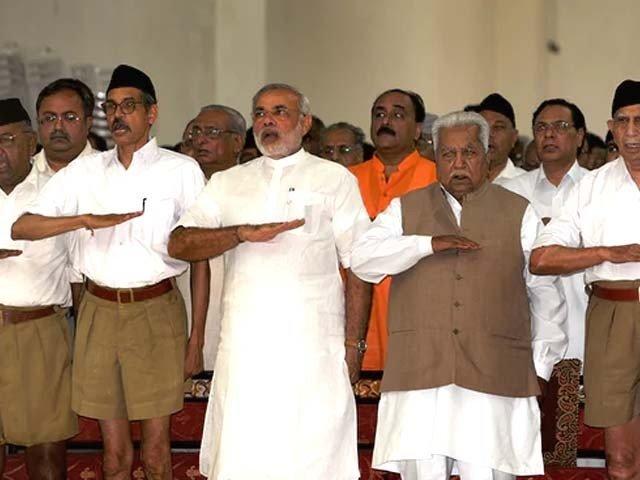 in this photograph taken in september 2009 narenda modi then chief minister of the western indian state of gujarat attends a rashtriya swayamsevak sangh rss gathering at tria mandir in adalaj near ahmedabad photo afp