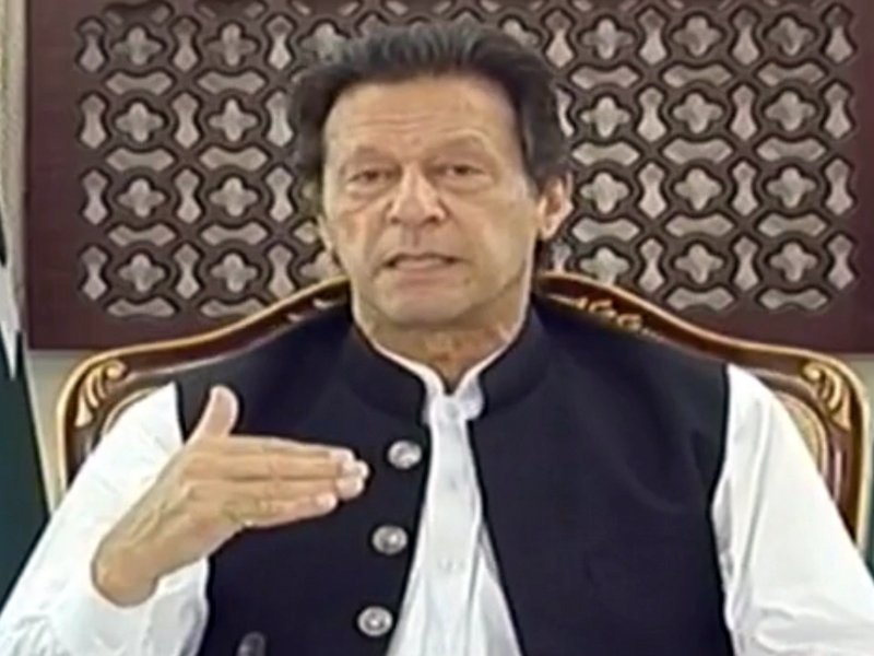 Prime Minister Imran Khan addresses nation on current coronavirus situation across the country. SCREENGRAN