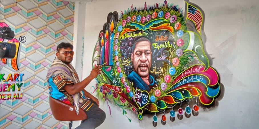 pakistani truck artist honours george floyd with stunning mural