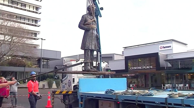 new zealand city takes down statue of british navy commander