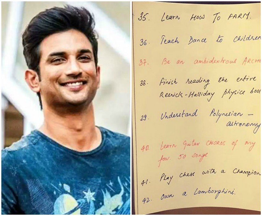 sushant singh rajput s bucket list goes viral on social media