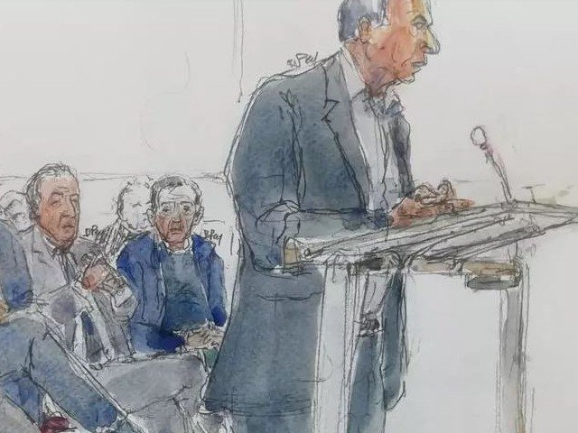 "File photo taken on October 07, 2019 of a court sketch of the ""Karachigate"" trial in Paris. PHOTO: AFP"