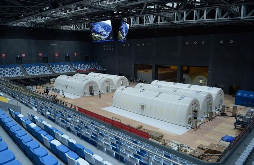 in pictures china s covid 19 testing lab with air inflated structure goes into operation
