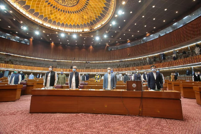 prime minister imran khan other ministers attend na budget 20 21 session in islamabad photo facebook imrankhanofficial