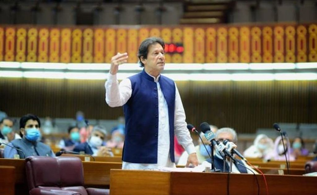 Prime Minister Imran Khan addresses a National Assembly session on Budget 2020-21 on June 25, 2020. PHTO COURTESY: FACEBOOK/@ImranKhanOfficial