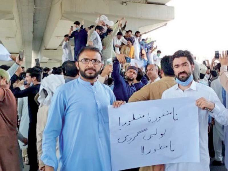 abuse-of-power-by-police-not-acceptable-reads-a-placard-displayed-by-protesters-at-a-demonstration-in-peshawar-photo-express
