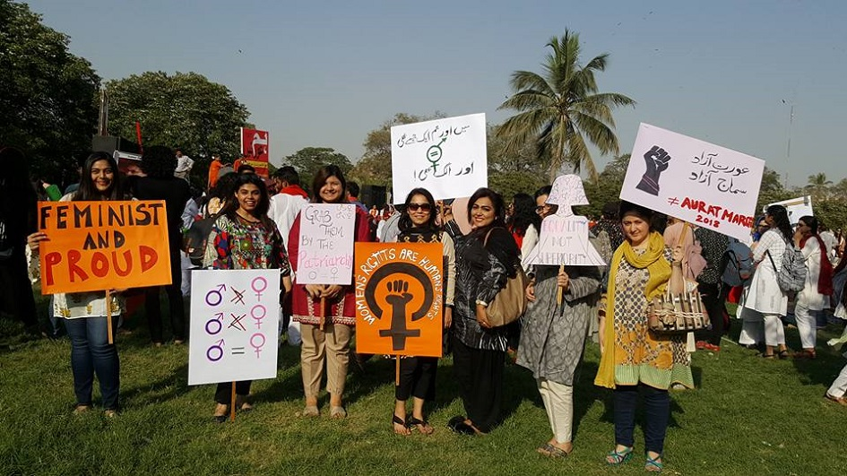 women rights activists carry placards campaigning for empowerment and rights   photo courtesy hija kamran
