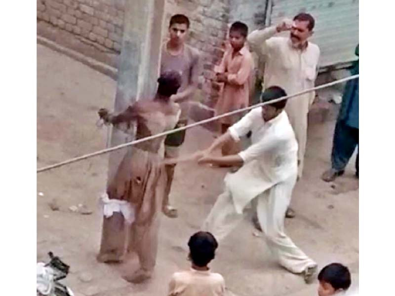 people tied a differently abled youth to a pole in tandlianwala and tortured him on suspicion of theft photo express