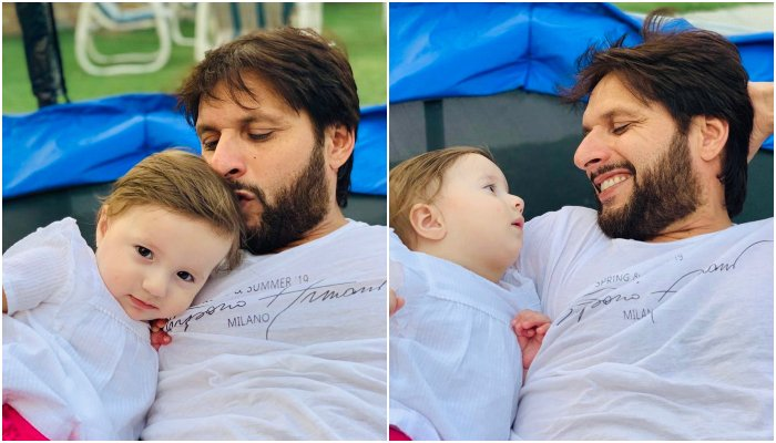 shahid afridi s photos with youngest daughter has the internet gushing