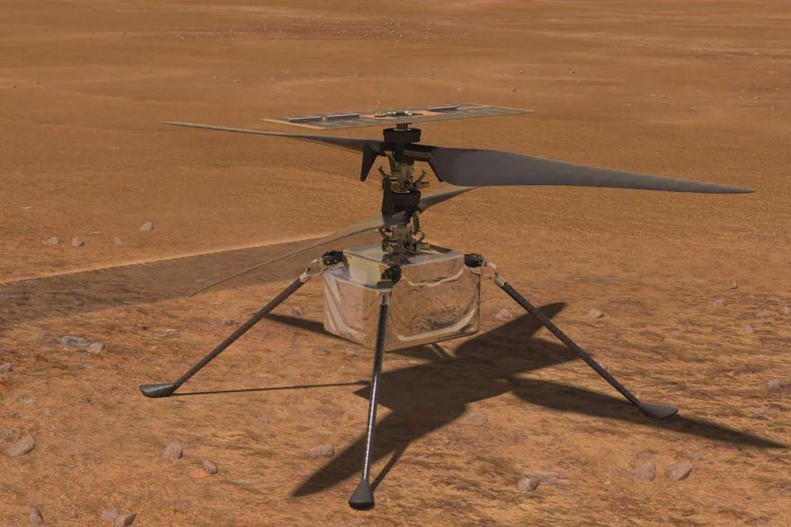 an illustration of nasa s ingenuity helicopter flying on mars photo nasa jpl caltech msss afp