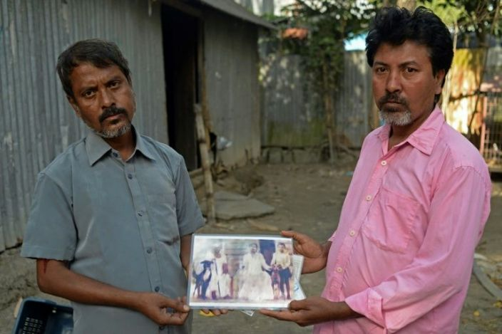 Joton Rabidas (R) and Topon Rabidas are among the last local breeders of the Sarail hound in Bangladesh. AFP