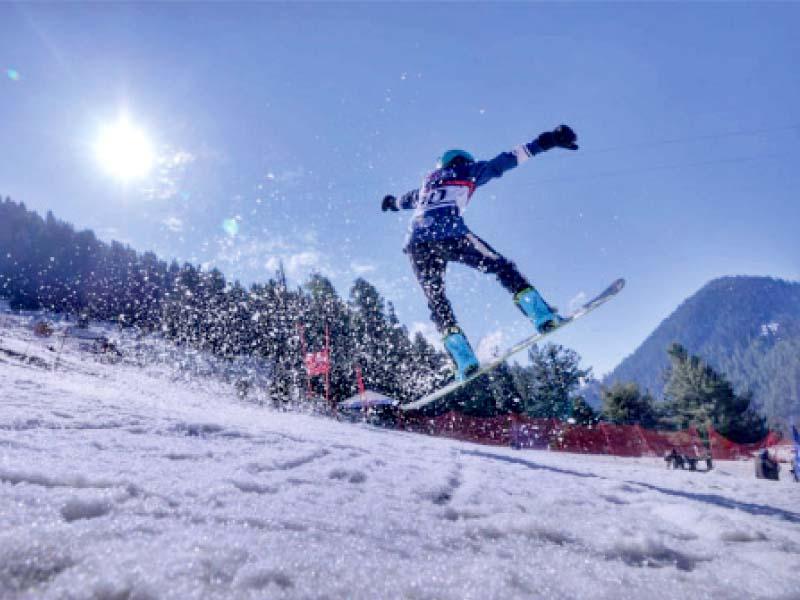 snowboarding skills on display at the malam jabba ski resort in swat photo express