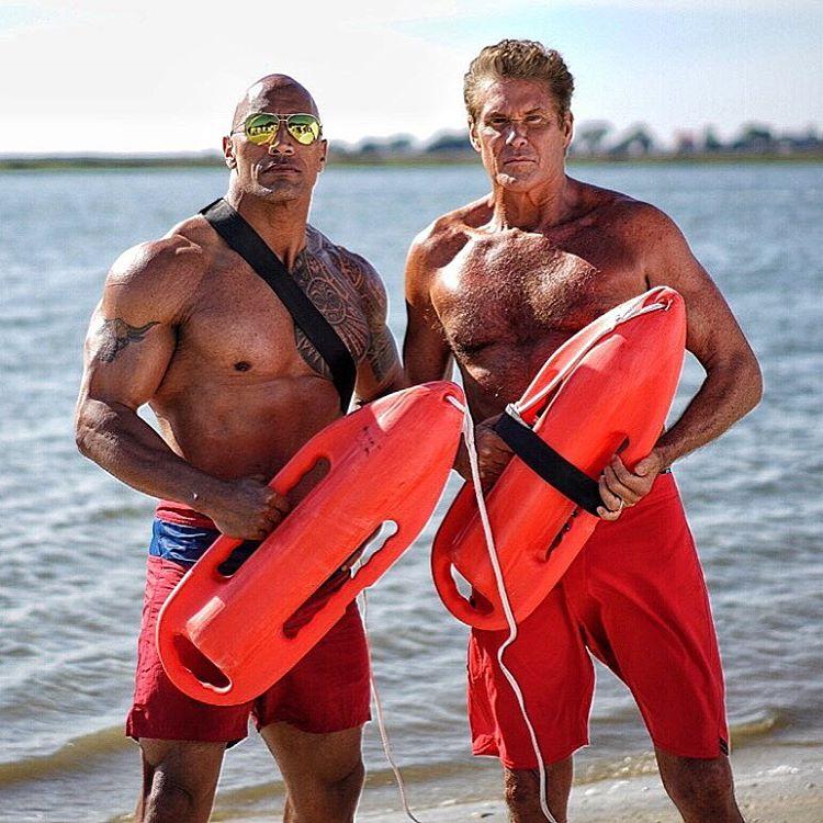 David Hasselhoff and Dwayne Johnson in Baywatch (2017) PHOTO: IMDb/The Rock
