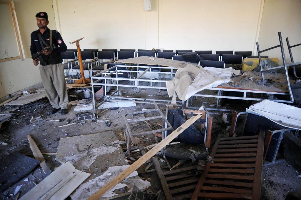 Blast damaged glass windows of university's classrooms and offices. PHOTO: MUHAMMAD IQBAL/ EXPRESS
