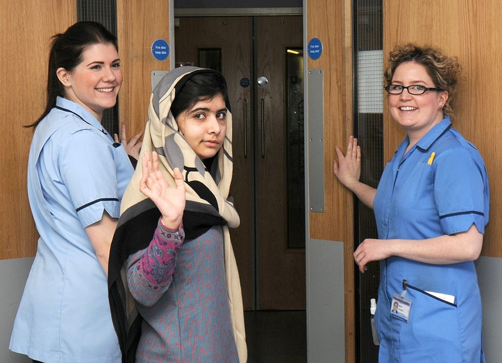 malala yousufzai c waves with nurses as she is discharged from the queen elizabeth hospital in birmingham in this handout photograph released on january 4 2013 photo reuters