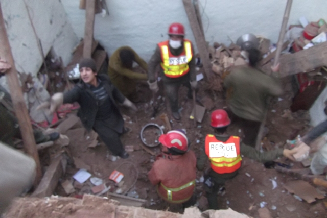 Blast brings entire building down which was used to make oxygen gas. PHOTO: RESCUE 1122/FILE