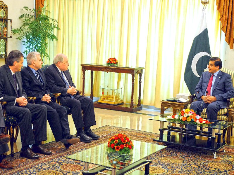 us senator carl levin speaks with prime minister raja pervaiz ashraf during a meeting in islamabad photo afp