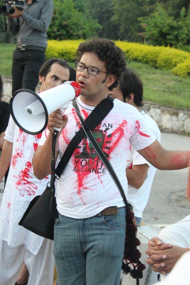 Khudi Ali during a protest in Islamabad. PHOTO: PAKISTAN YOUTH ALLIANCE FACEBOOK PAGE