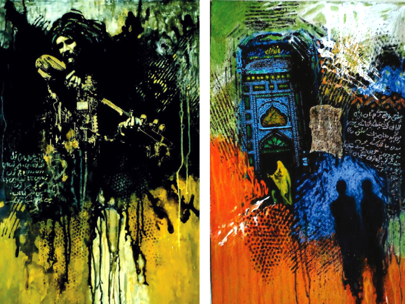 the artist incorporates bulleh shah s poetry in the background of his paintings photo express