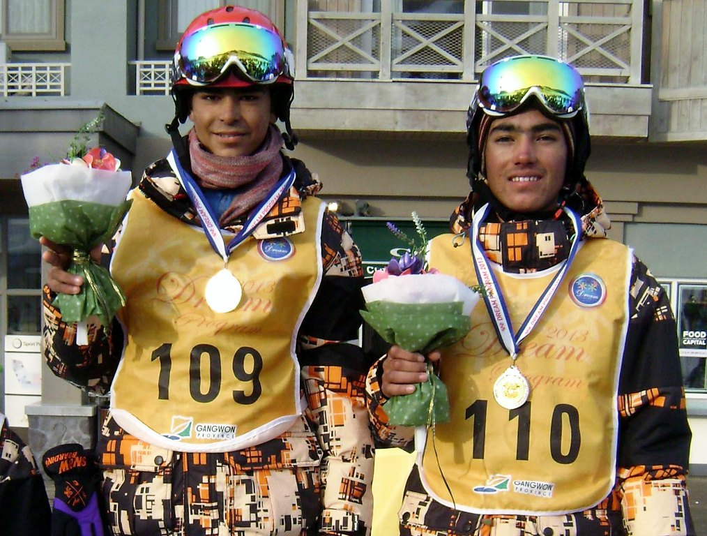 noor muhammad l won the gold medal and shah hussain r won the silver medal at the skiing event