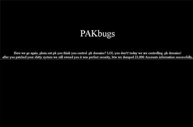 Screenshot of the message left by the hackers.