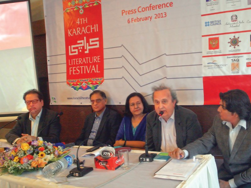 from left to right arts council president ahmed shah writer asif farrukhi oup managing director ameena saiyid goethe institut director dr manuel negwer and moderator ahsan raza firdousi at the pre launch event of the fourth karachi literature festival on wednesday photo athar khan express