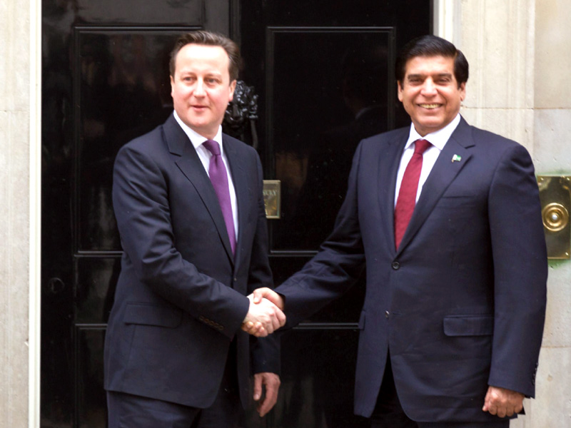 prime minister raja pervaiz ashraf shakes hands with his british counterpart david cameron at 10 downing street in central london photo afp