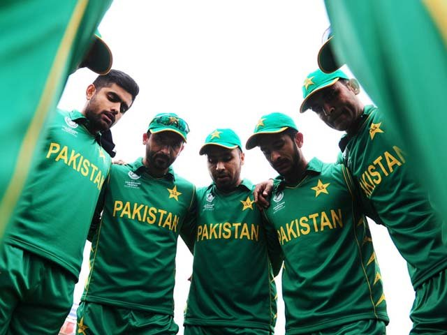 An introspective Pakistan in their team huddle before the game, Sri Lanka v Pakistan, Champions Trophy 2017, Group B, Cardiff, London, June 12, 2017. PHOTO: GETTY IMAGES
