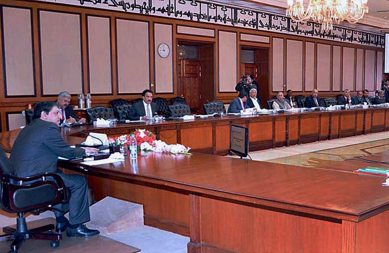 Finance minister Saleem Mandviwala chairing the ECC meeting. PHOTO: APP