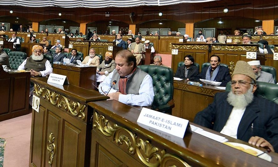 PML-N chief Nawaz Sharif addressing the All Parties Conference in Islamabad on Thursday. PHOTO: INP
