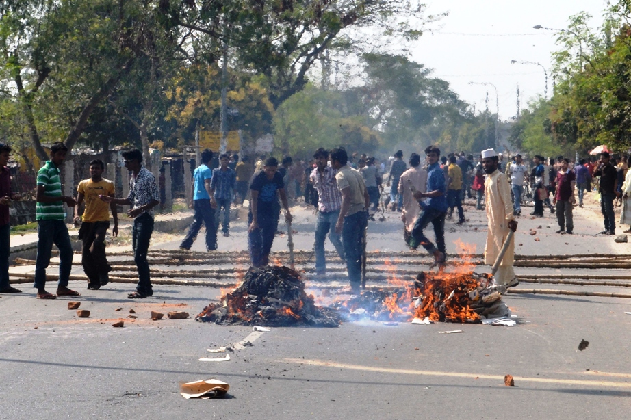 Jamaat-e-Islami protesters demonstrating against conviction of its leaders. PHOTO: AFP