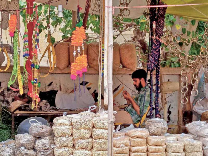 A man awaits customers at a makeshift stall selling animal fodder on the eve of Eidul Azha. Such stalls spring up across the city on the occasion, giving people a chance to make some extra money. PHOTO: EXPRESS