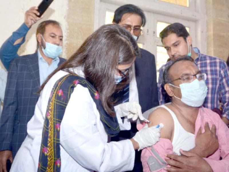 sindh health minister azra fazal pechuho said that as many as 198 484 healthcare staffers had registered at both the government and private levels for the campaign photos jalal qureshi express
