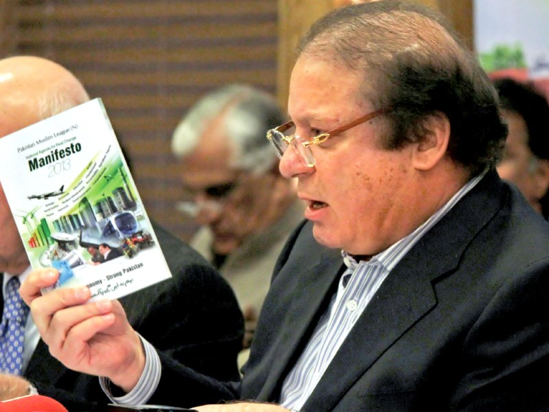 pml n chief nawaz sharif talks to the media as he presents his party manifesto during a press conference in lahore on thursday photo afp
