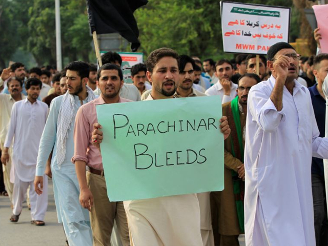 Protesters demonstrate in Islamabad against the lack of security provided to residents of Parachinar on June 27. PHOTO: REUTERS