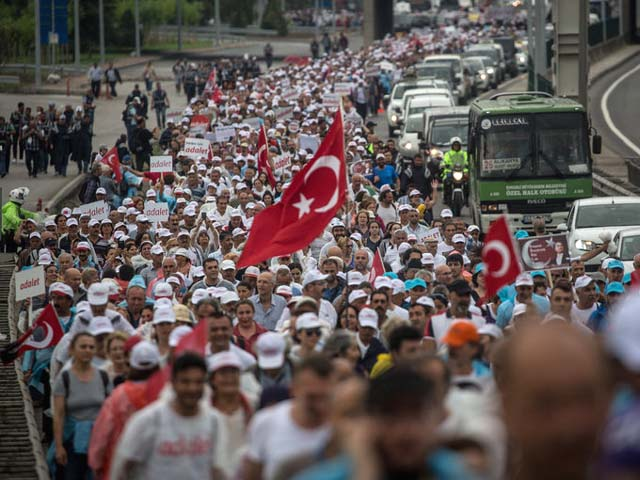 The 280-mile march for democracy and justice, near Izmit, Turkey, this month. PHOTO: GETTY