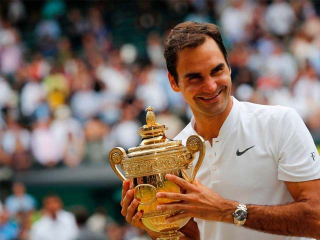 Roger Federer made it eight Wimbledon titles after an incredible fortnight at SW19. PHOTO: GETTY